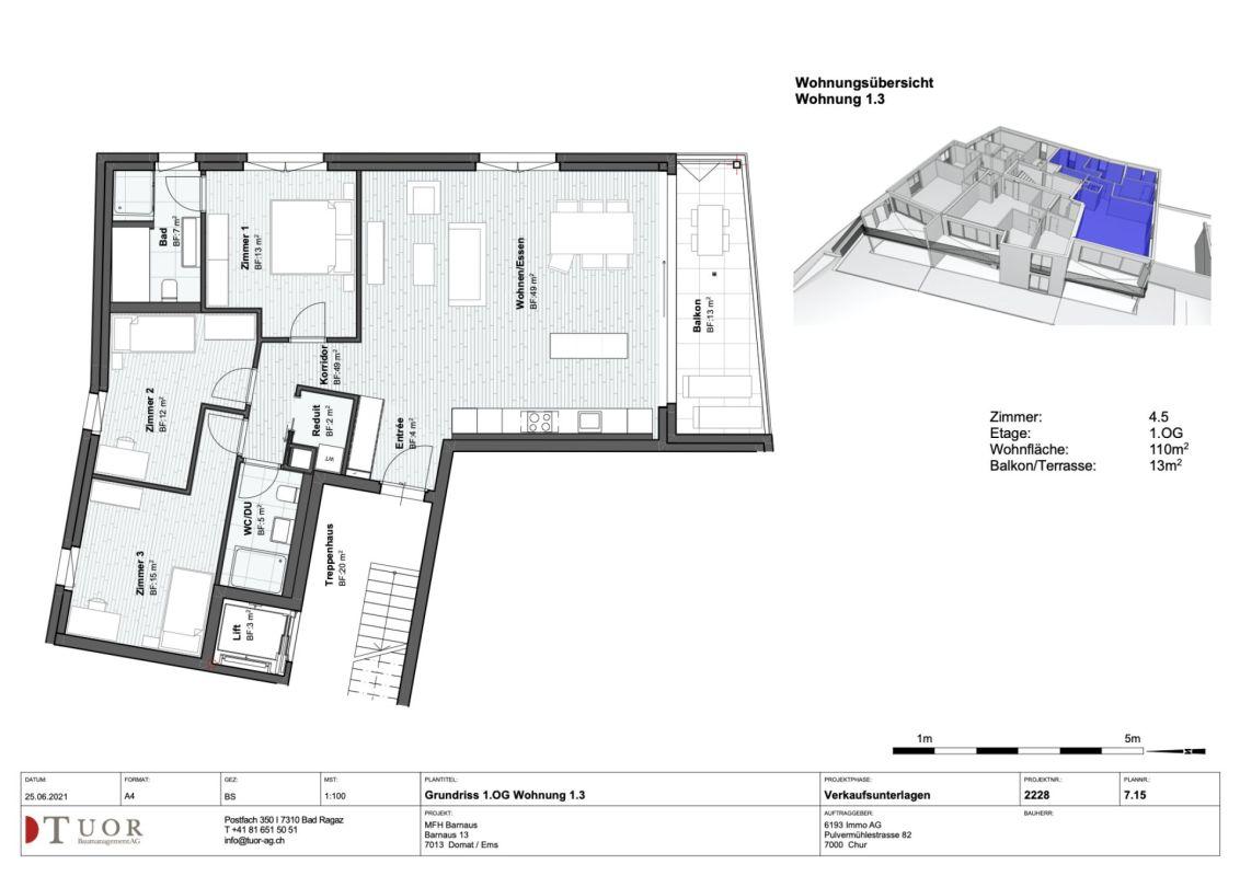 4.5 Zimmerwohnung im 1. Obergeschoss Neubau Casa Biala Domat/Ems