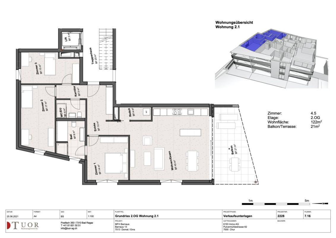 4.5 Zimmerwohnung im 2. Obergeschoss Neubau Casa Biala Domat/Ems