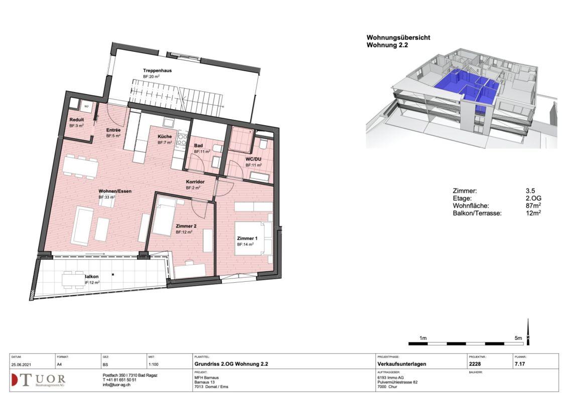 3.5 Zimmerwohnung im 2. Obergeschoss Neubau Casa Biala Domat/Ems