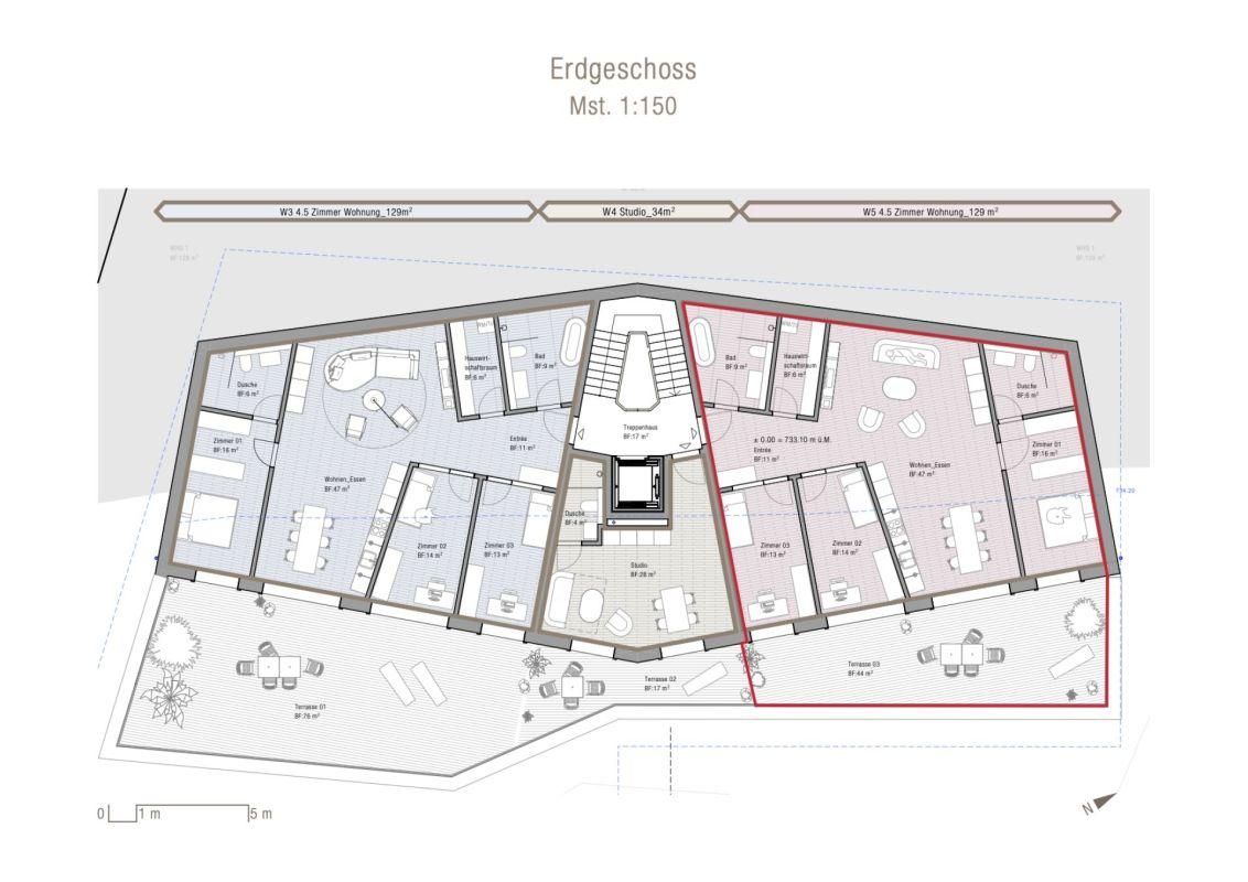 4.5 Zimmer Erdgeschosswohnung Neubau Casa Nido Thusis