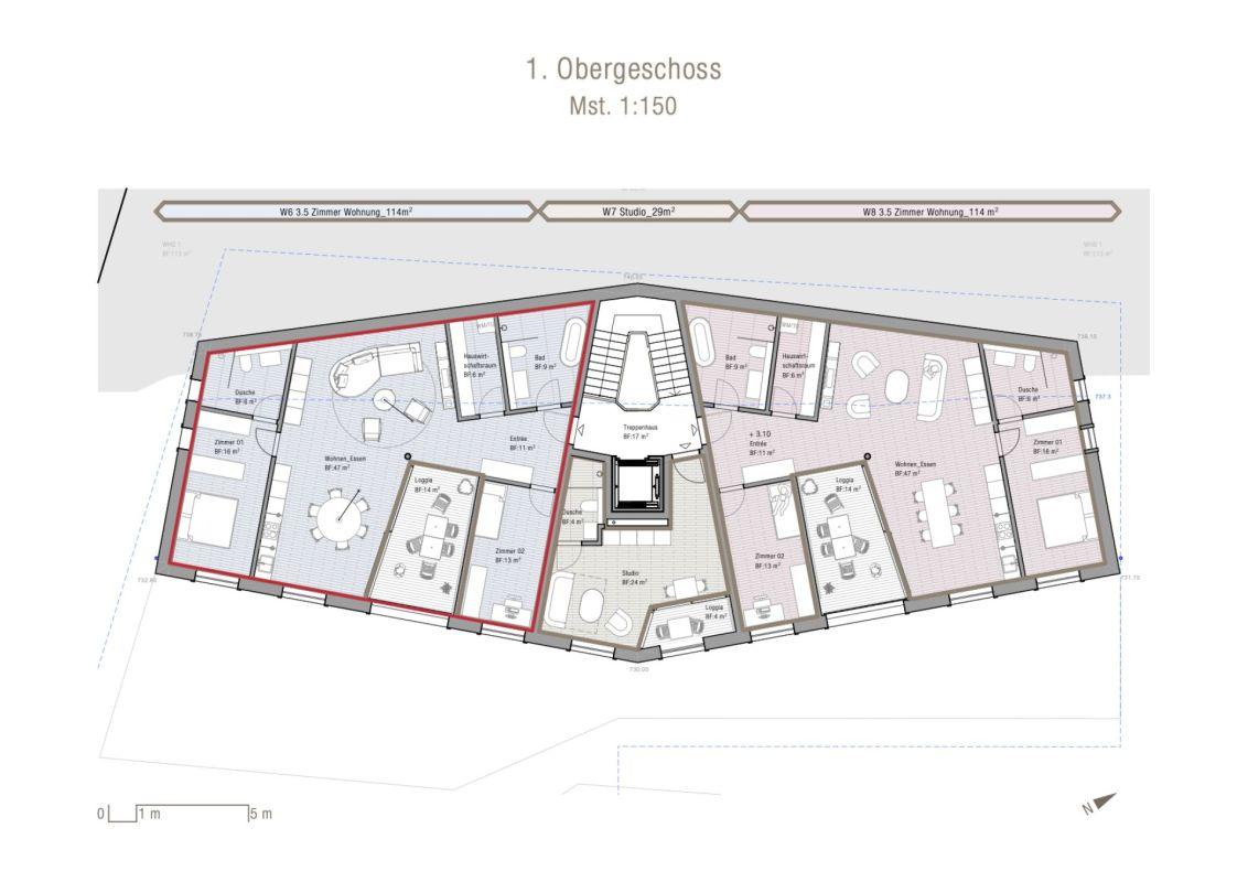 3.5 Zimmerwohnung im 1. Obergeschoss Neubau Casa Nido Thusis