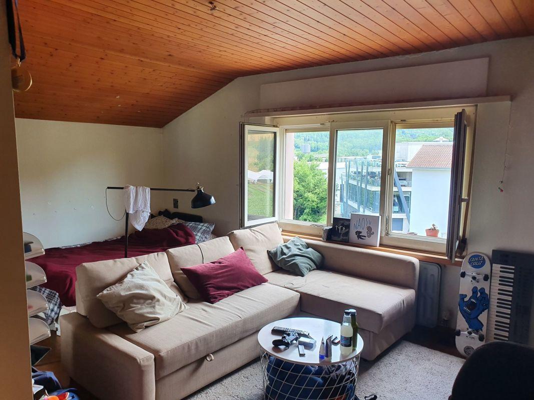 Helle 1.5-Zimmer-Dachwohnung mit schöner Aussicht ins Grüne