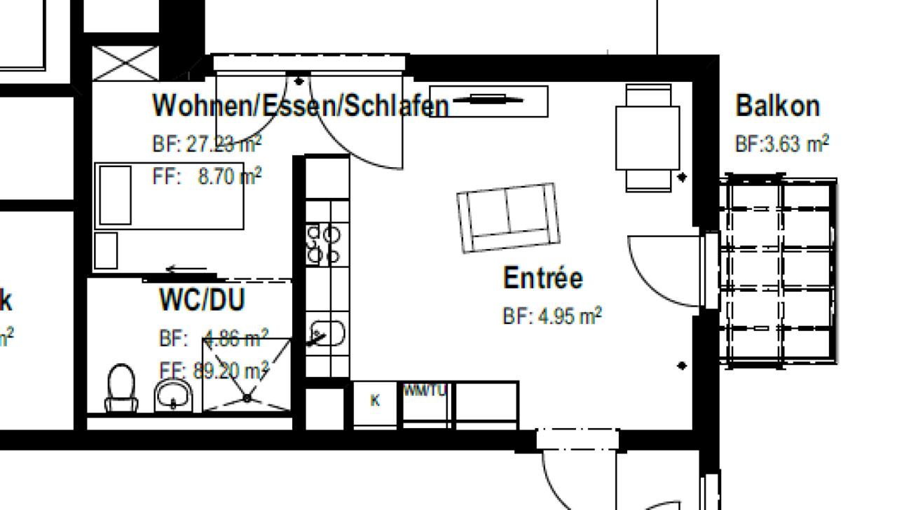 Alterswohnung: Hindernisfreie 1-Zimmer-Wohnung vis à vis des Gesundheitszentrum Brugg