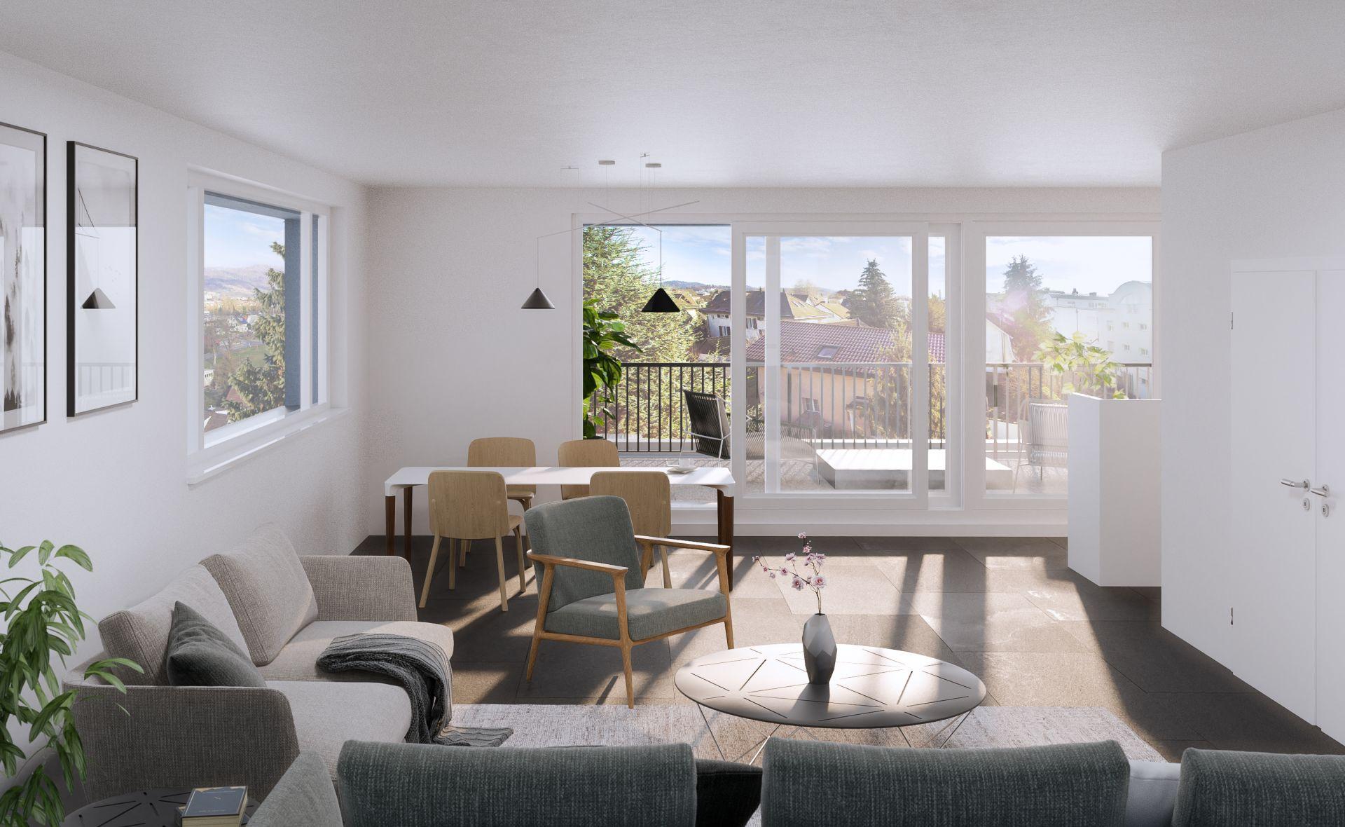 Wohnung mit Blick auf die Terrasse